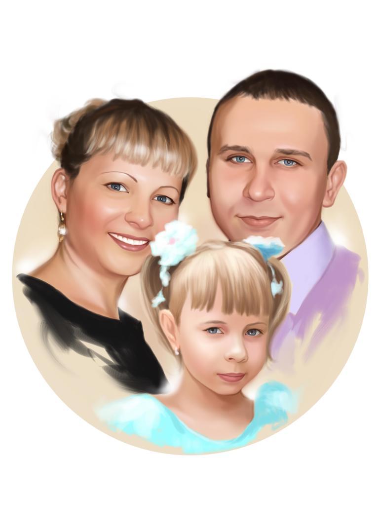 Семейный портрет по фото на холсте в Ульяновске — правильный подарок!