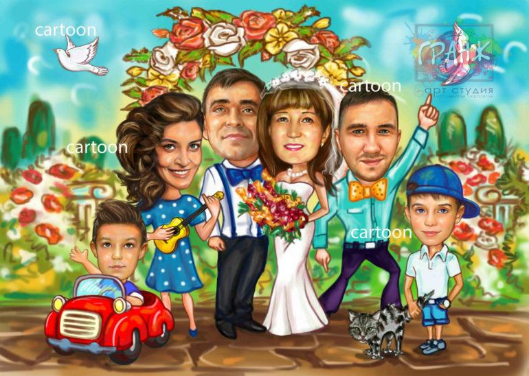 Шарж по фото на годовщину свадьбы на заказ в Ульяновске…