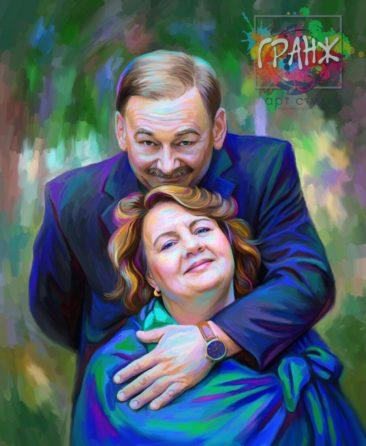 Портрет по фото на холсте — оригинальный подарок на семейный праздник Ульяновск