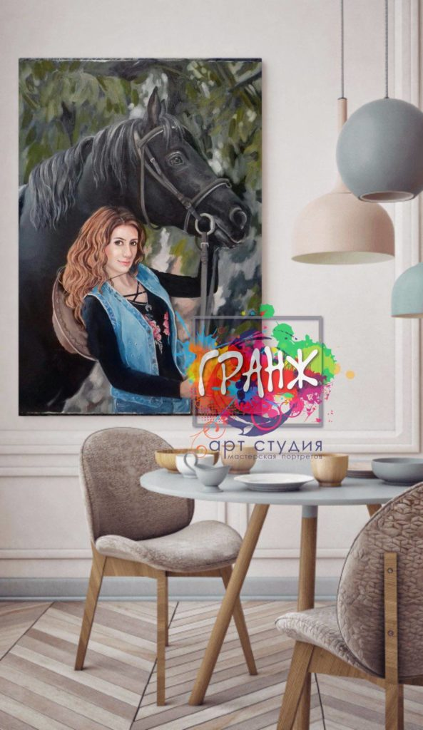 портрет девушки маслом